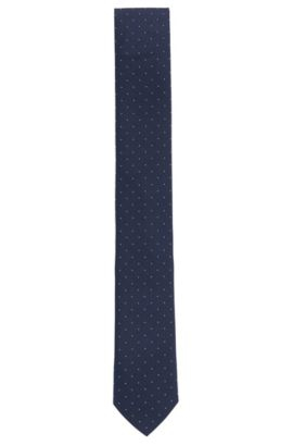 Cravate jacquard en soie fine à motif, Bleu foncé