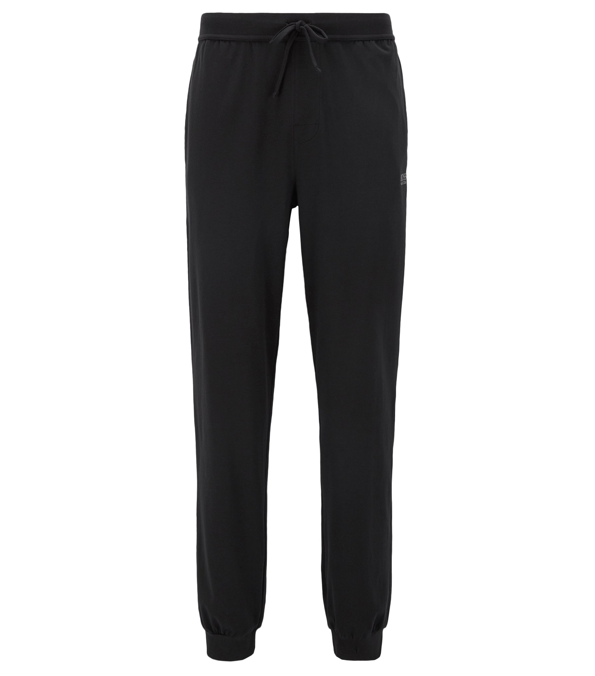 Loungewear-Hose aus Stretch-Baumwolle mit Tunnelzug, Schwarz