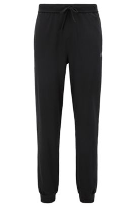 Pantalón loungewear con cordón en punto sencillo, Negro