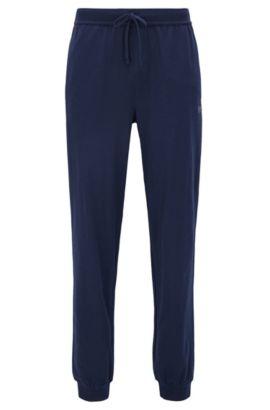 Drawstring loungewear bottoms in single jersey, Dark Blue