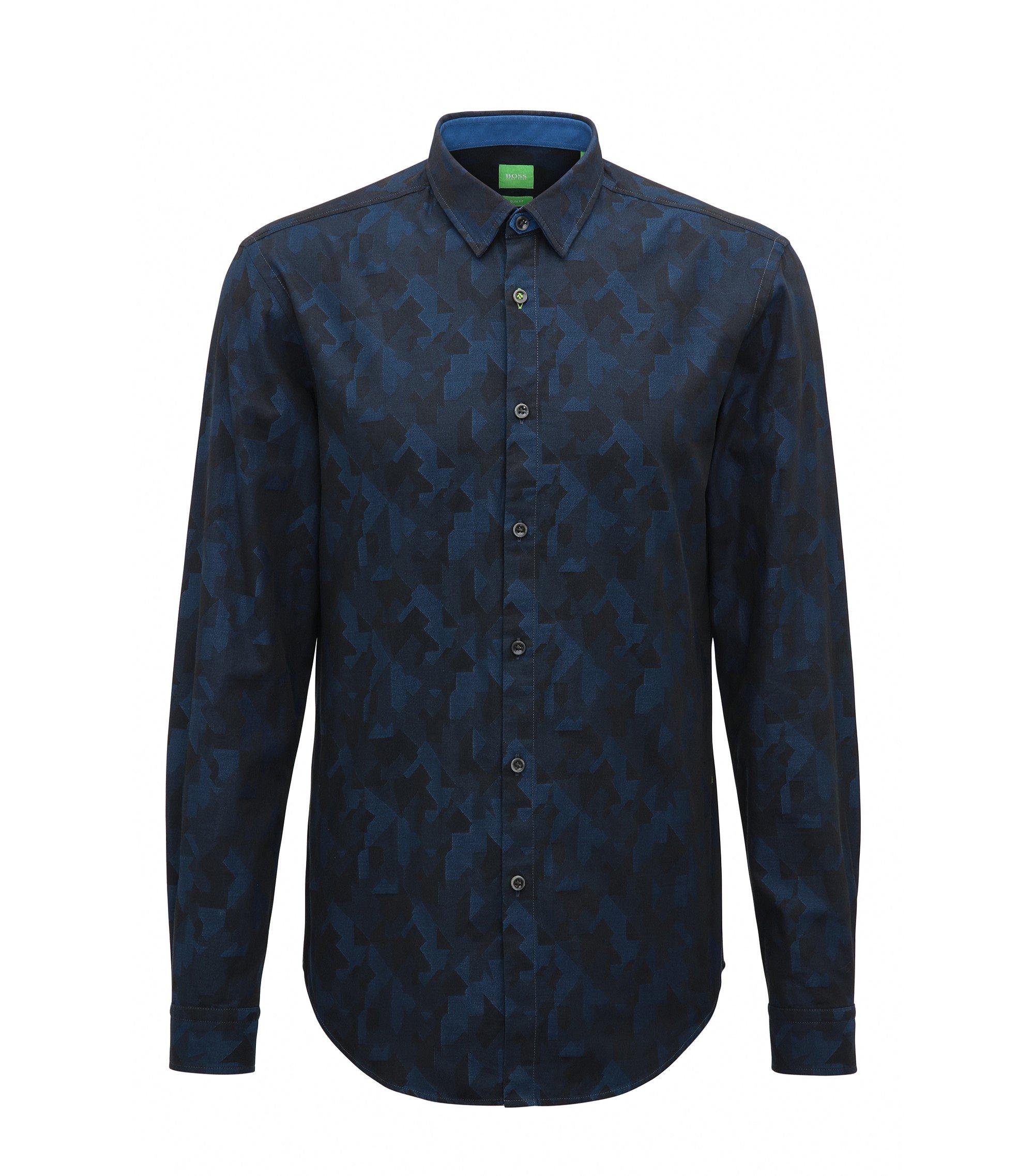 Slim-fit shirt in cotton jacquard, Blue