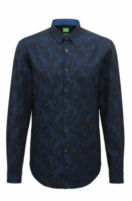 Slim-fit shirt in cotton jacquard, Blue