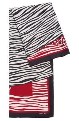 Sciarpa in seta con eclettico motivo a patchwork, A disegni