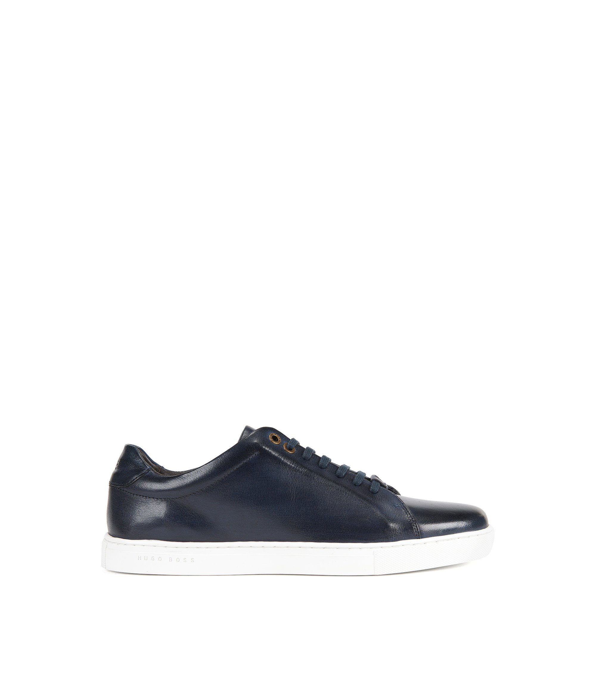 Lace-up trainers in buffalo leather, Dark Blue