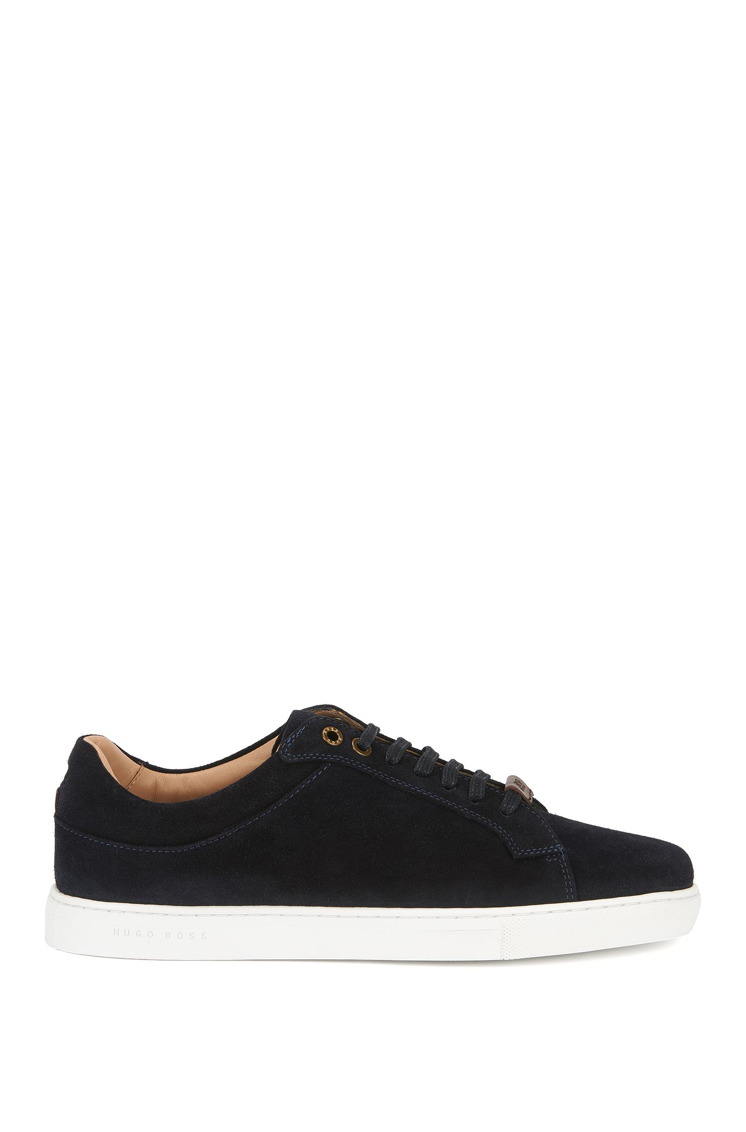 Lace-up trainers in soft suede with nappa lining