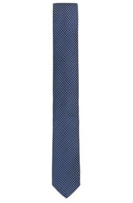Stropdas van fijne zijde in jacquardweefsel met dessin, Donkerblauw