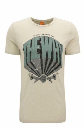 T-shirt regular fit in tessuto misto con cotone, Beige