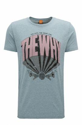 Regular-fit cotton-blend T-shirt, Turquoise