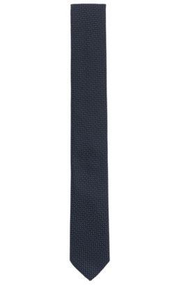 Cravate jacquard en soie à motif effet 3D, Bleu foncé