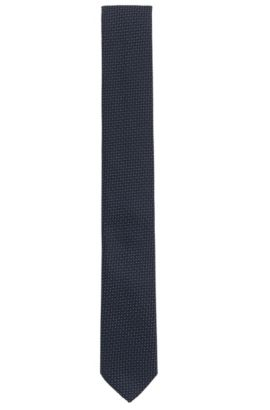 Corbata de jacquard en seda con patrón de efecto 3D, Azul oscuro