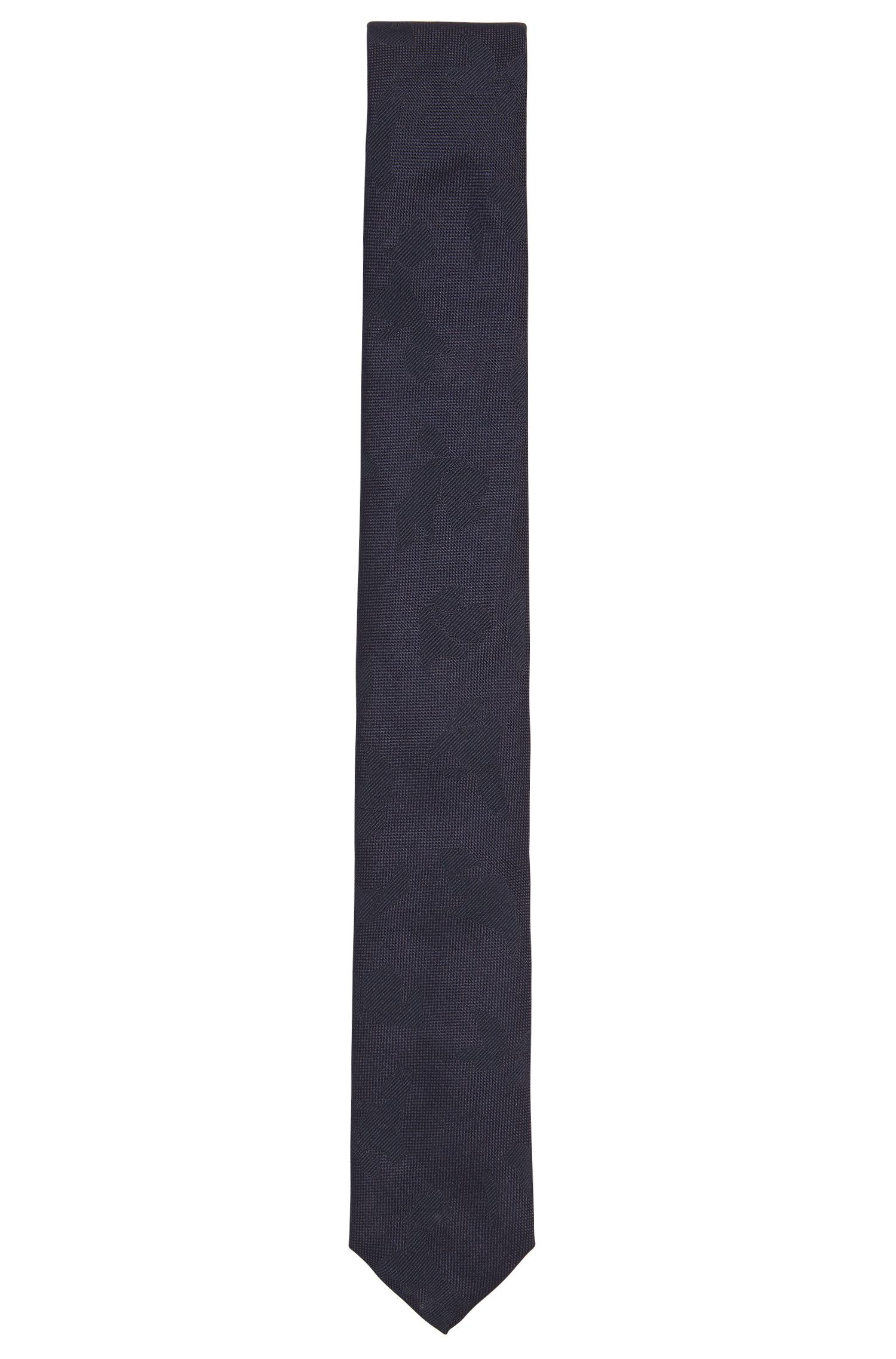Silk tie with tonal abstract pattern