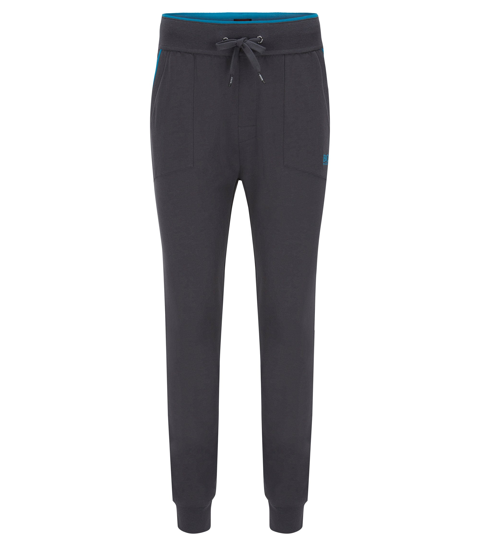 Pantaloni per il tempo libero in jersey con tasche applicate e filetti a contrasto, Grigio scuro