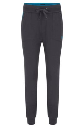 Jersey loungewear trousers with applied pockets and contrast piping, Dark Grey