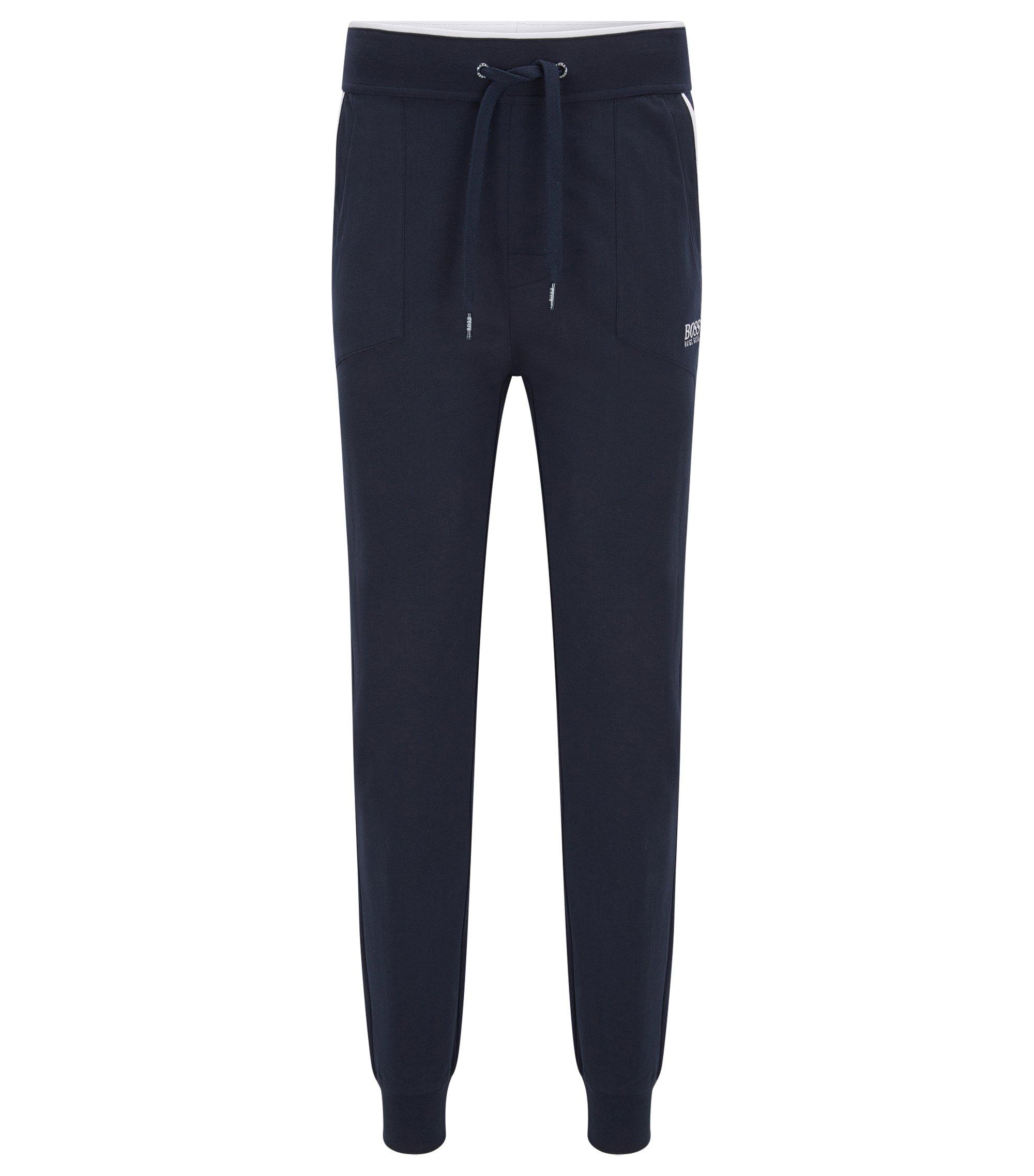 Loungewear-Hose aus Baumwolle mit aufgesetzten Taschen und kontrastfarbenen Paspeln, Dunkelblau