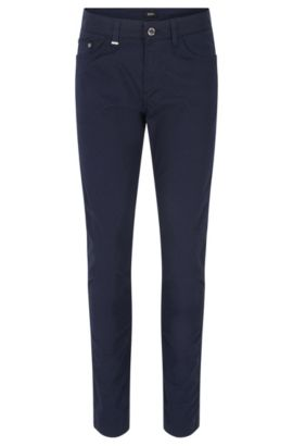 Slim-fit denim jeans in een microjacquard-weefpatroon, Donkerblauw
