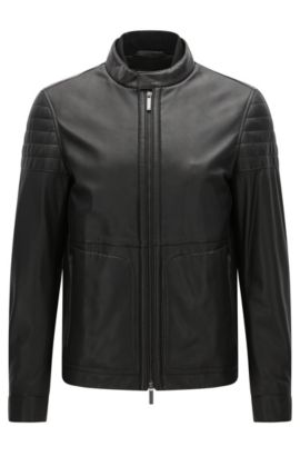 Slim-fit leather jacket with knitted inner collar, Black