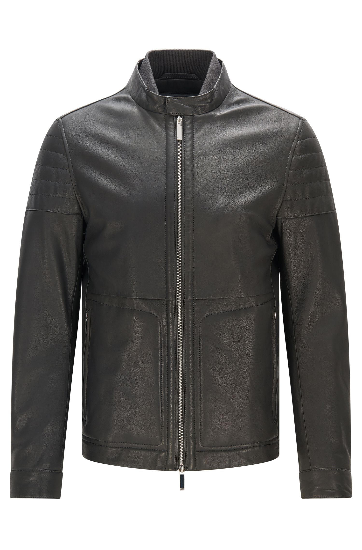 Slim-fit leather jacket with knitted inner collar