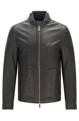 Slim-fit leather jacket with knitted inner collar, Dark Grey