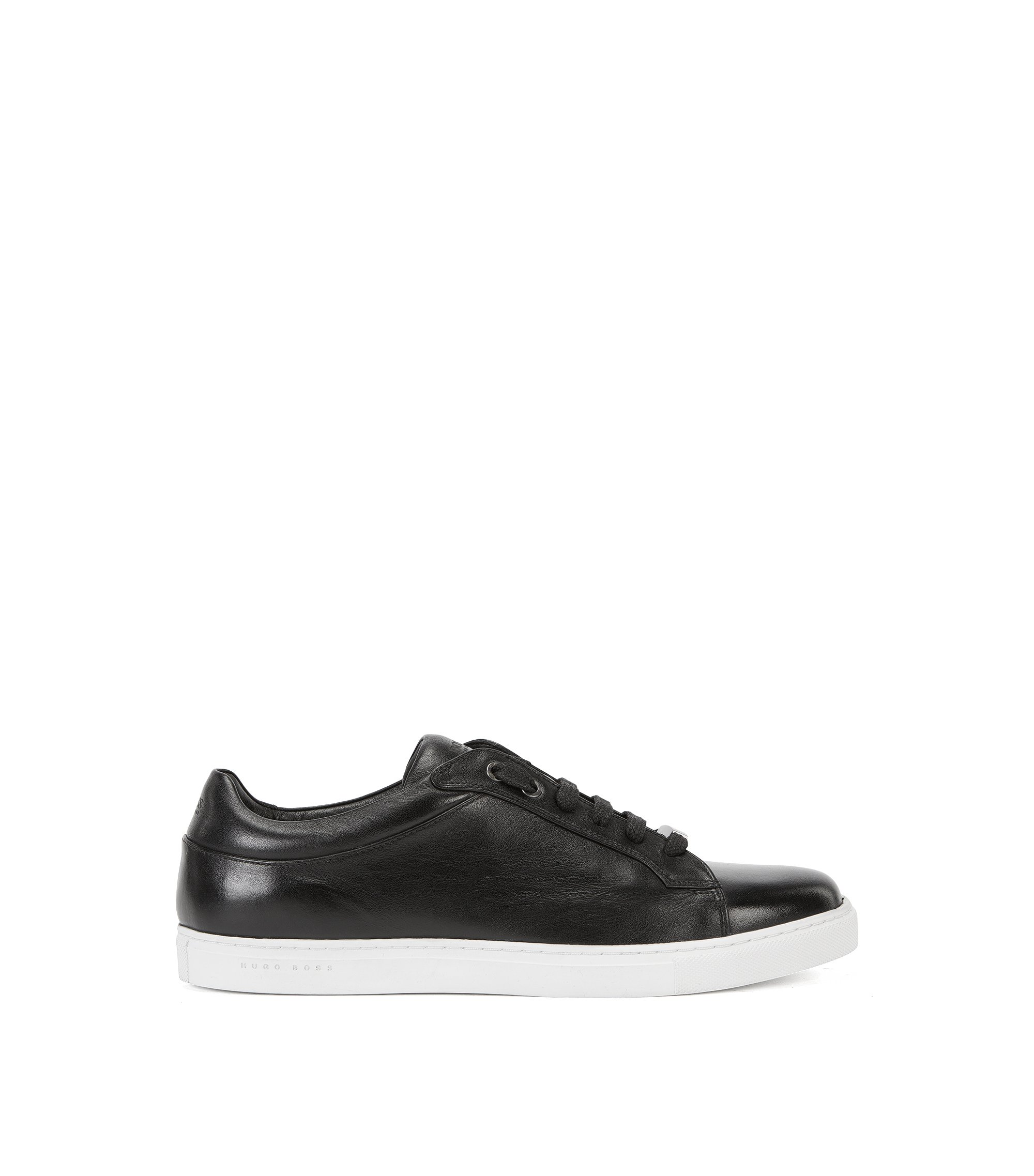 Leather lace-up trainers with branded sole, Black