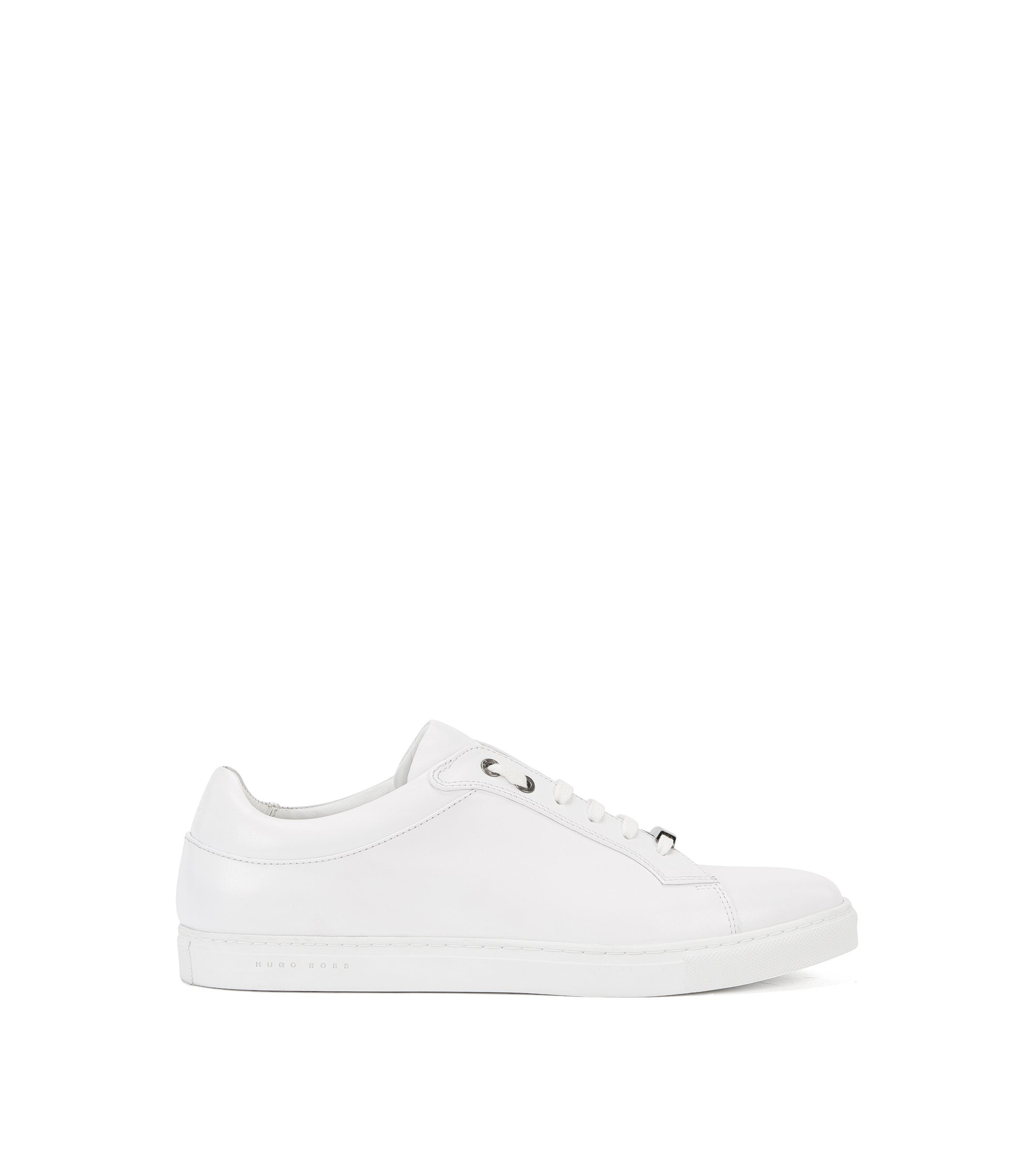 Leather lace-up trainers with branded sole, White