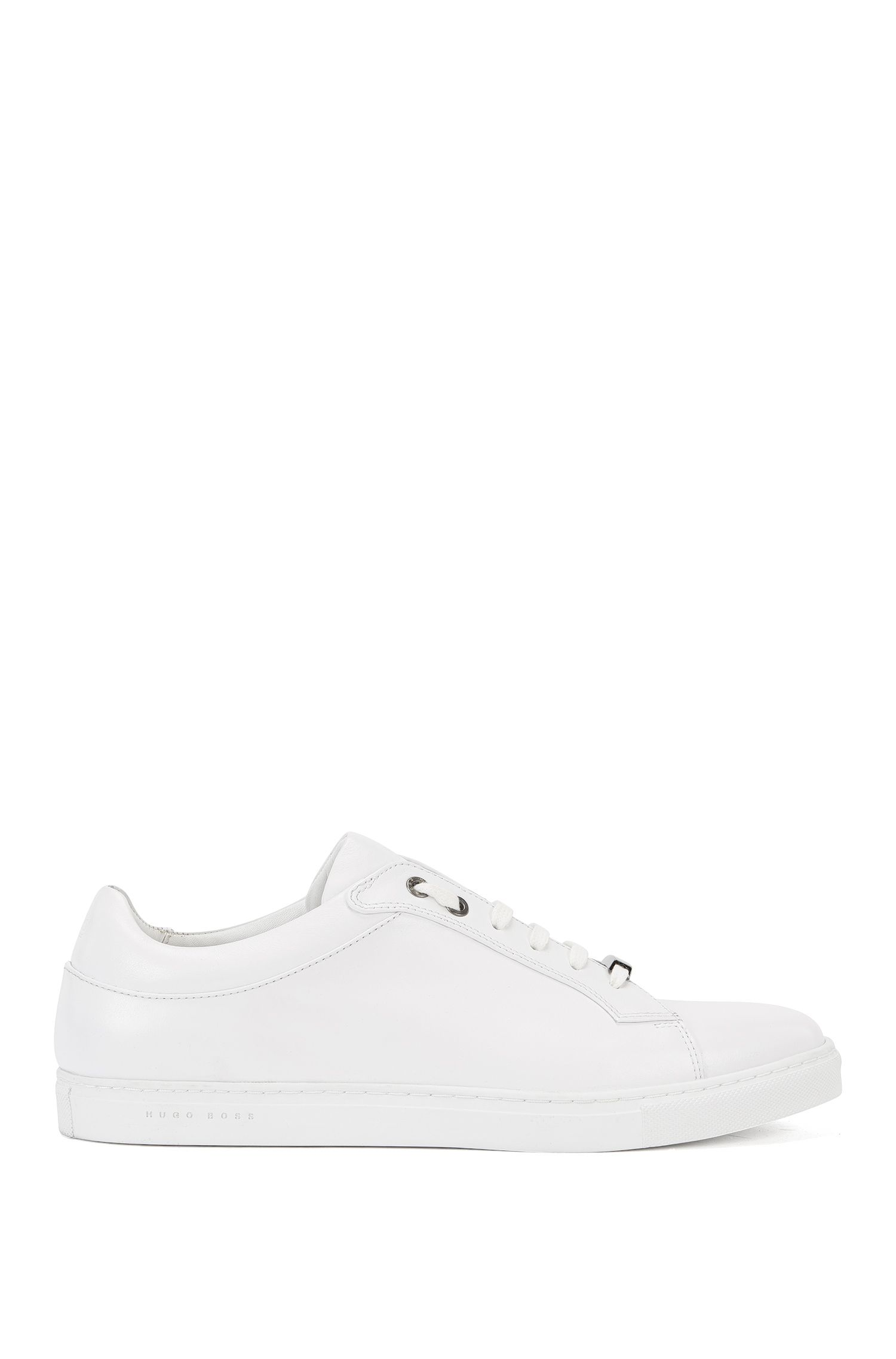 Leather lace-up trainers with branded sole