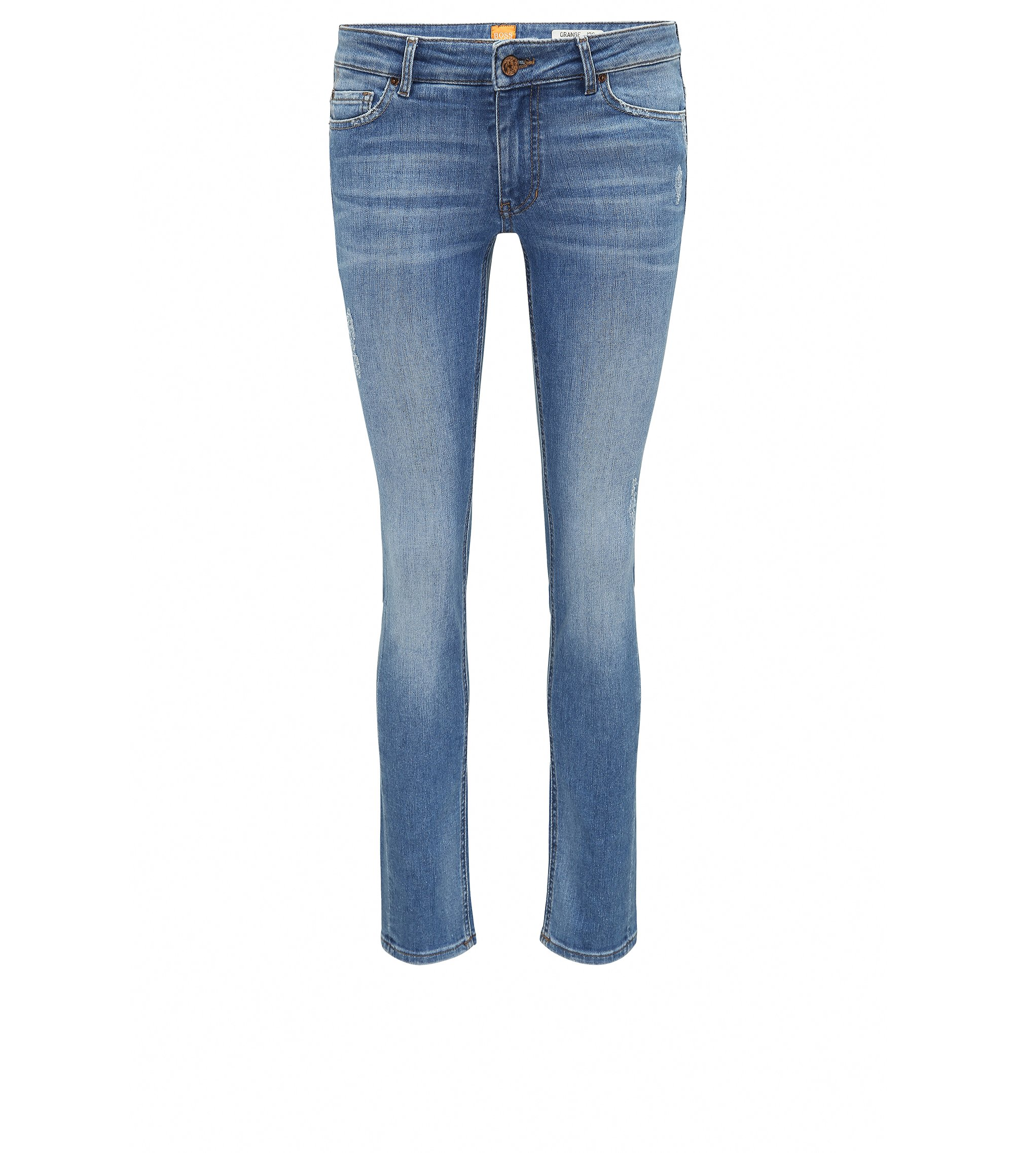 Slim-Fit Jeans aus komfortablem Stretch-Denim im Destroyed-Look , Blau