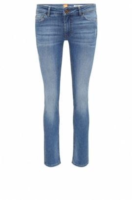Slim-fit comfort-stretch denim jeans with destroyed effects , Blue