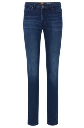 Jeans Slim Fit en denim stretch confortable, Bleu foncé