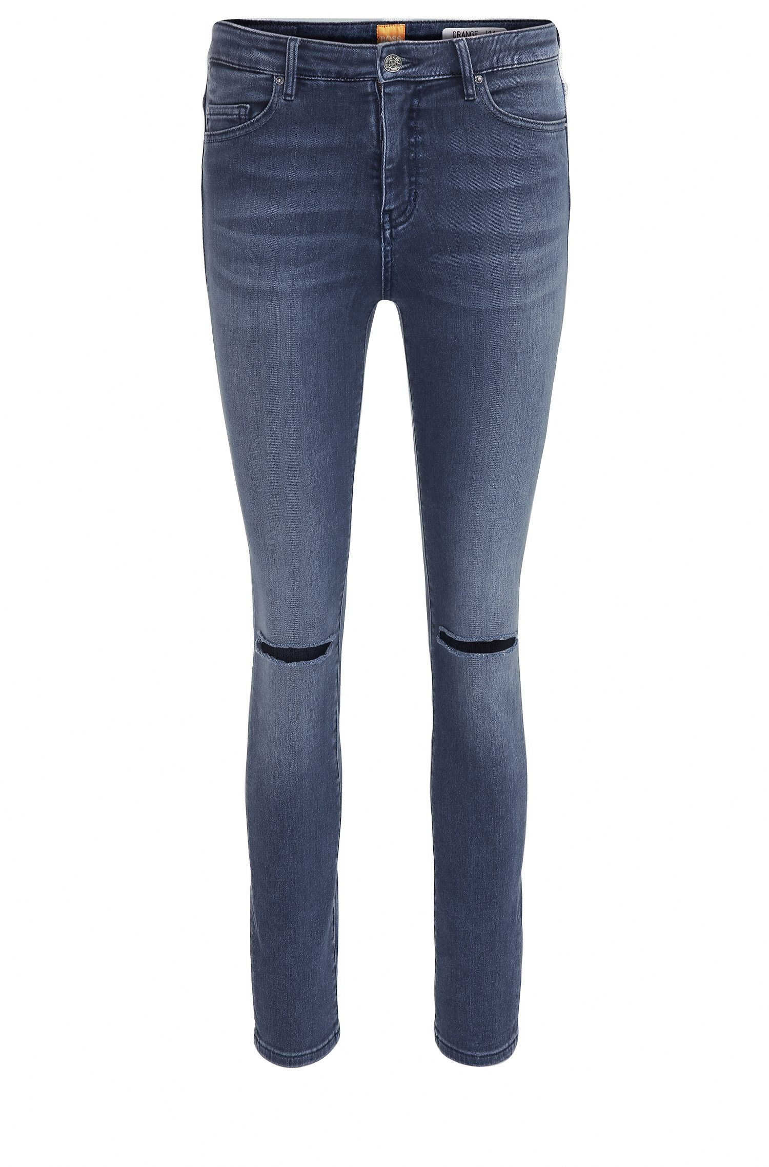 Vaqueros tobilleros skinny fit en denim con elástico power-stretch y aspecto usado