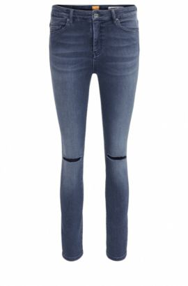 Kurz geschnittene Skinny-Fit Jeans aus Stretch-Denim in Used-Optik, Dunkelblau