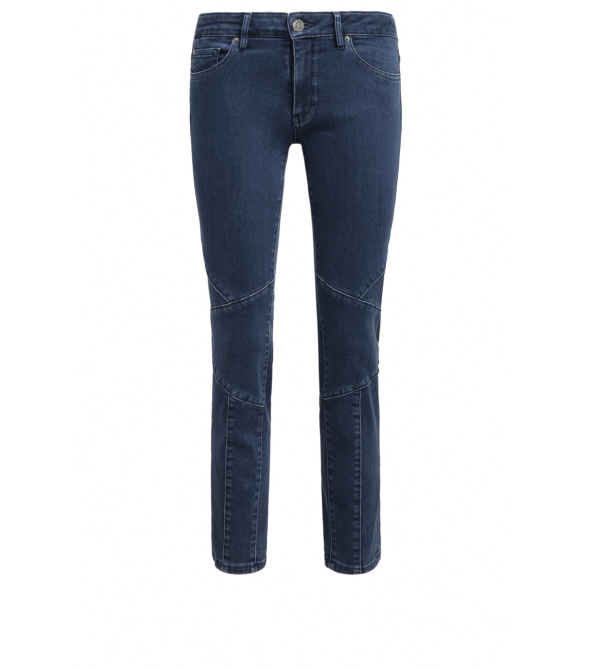 Cropped slim-fit power-stretch denim jeans in biker design, Blue