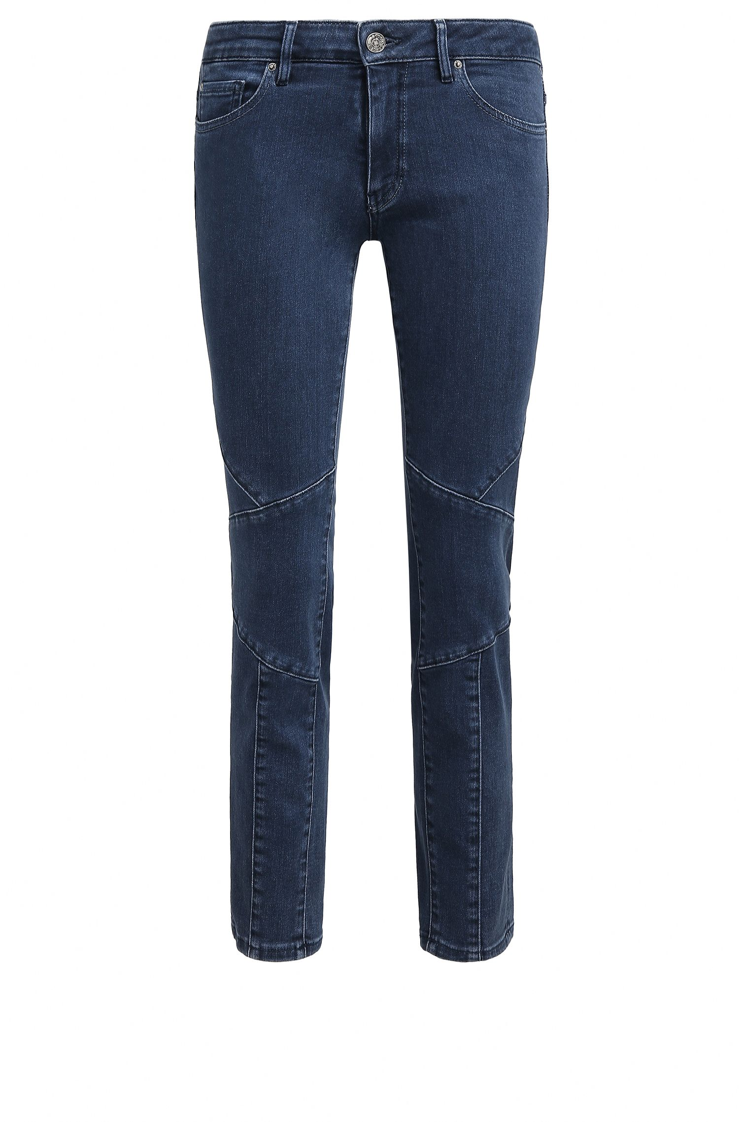 Kurz geschnittene Slim-Fit Jeans aus Stretch-Denim im Biker-Look