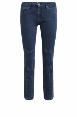 Cropped, slim-fit jeans van power-stretchdenim in bikerlook, Blauw