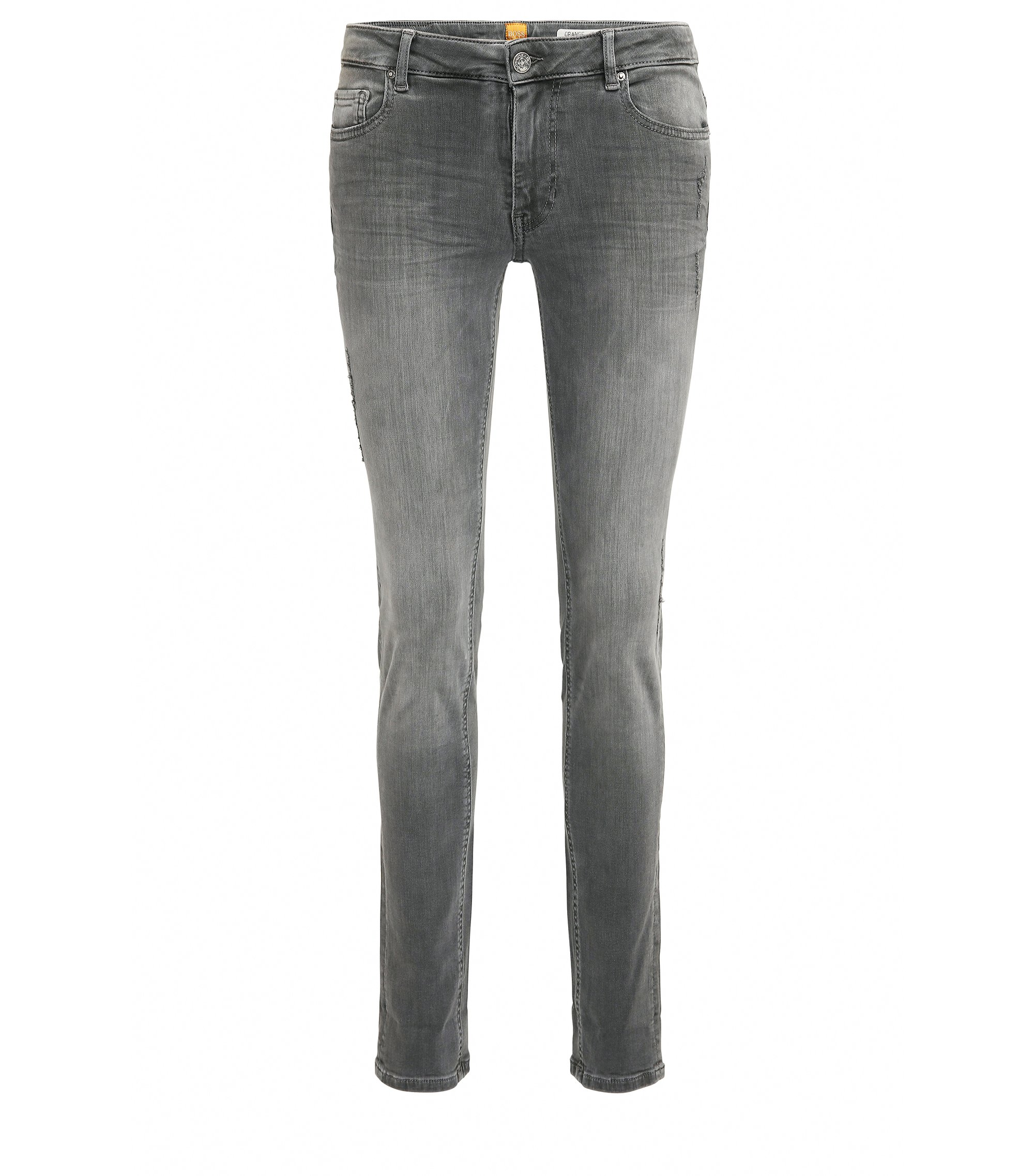 Slim-Fit Jeans aus gewaschenem Stretch-Denim in Used-Optik, Dunkelgrau