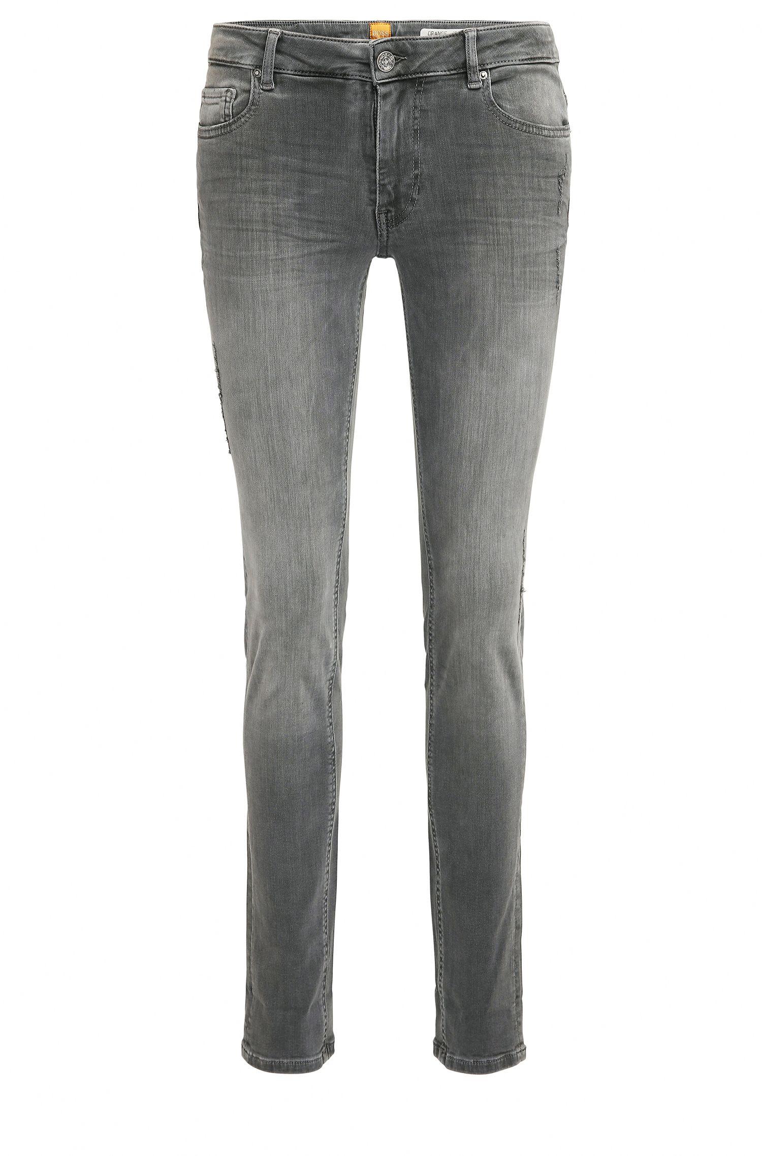 Gewassen slim-fit jeans van super-stretchdenim in used-look