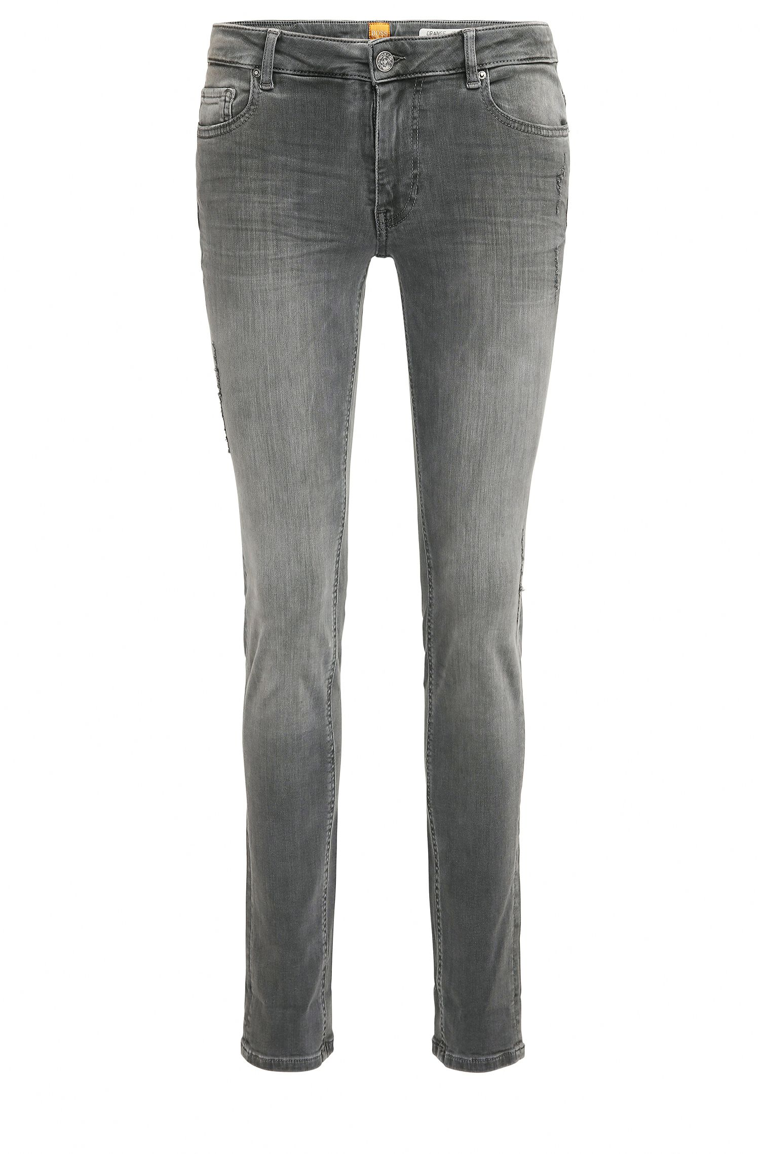 Jeans slim fit in denim super elasticizzato con effetto lavato e usurato
