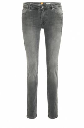 Jeans Slim Fit en denim super-stretch au look délavé et usé, Gris sombre