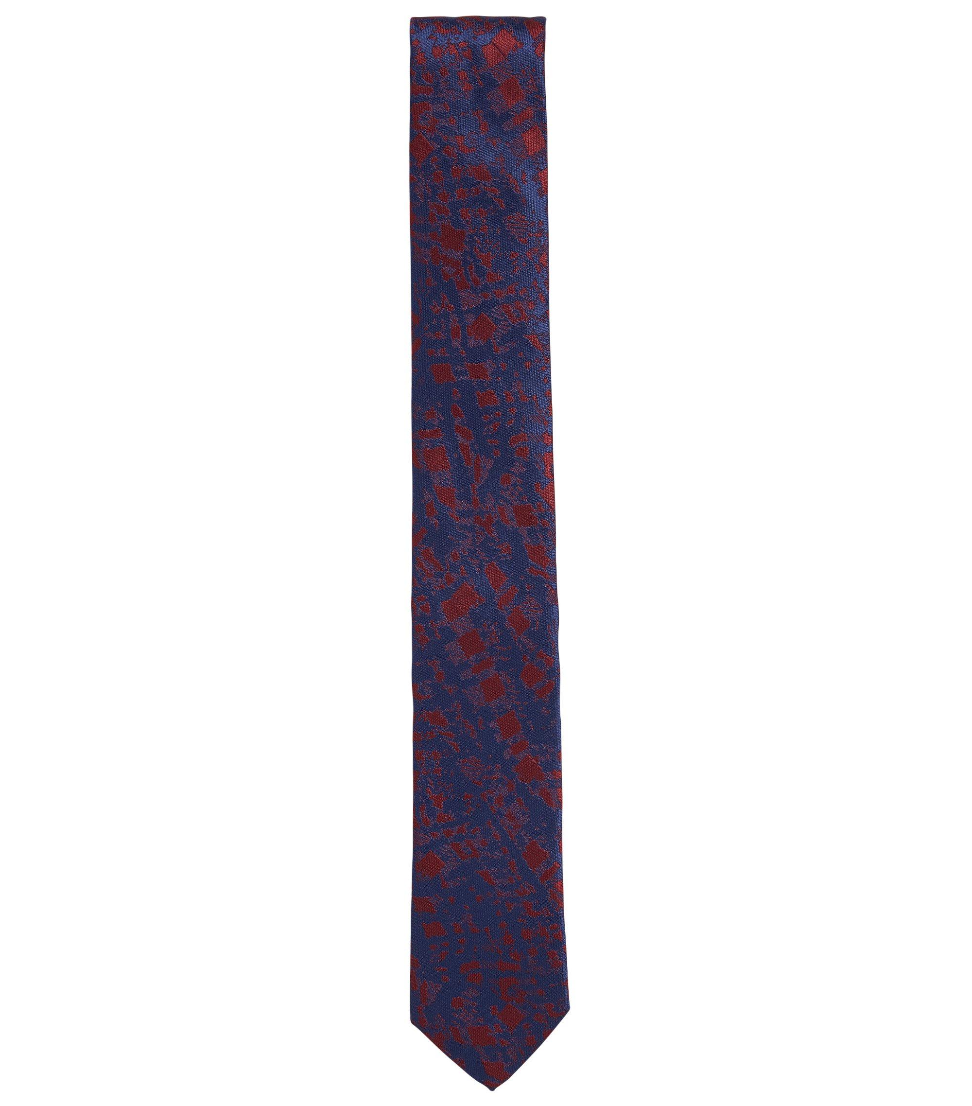 Zijden stropdas in jacquard met abstract dessin, Donkerrood