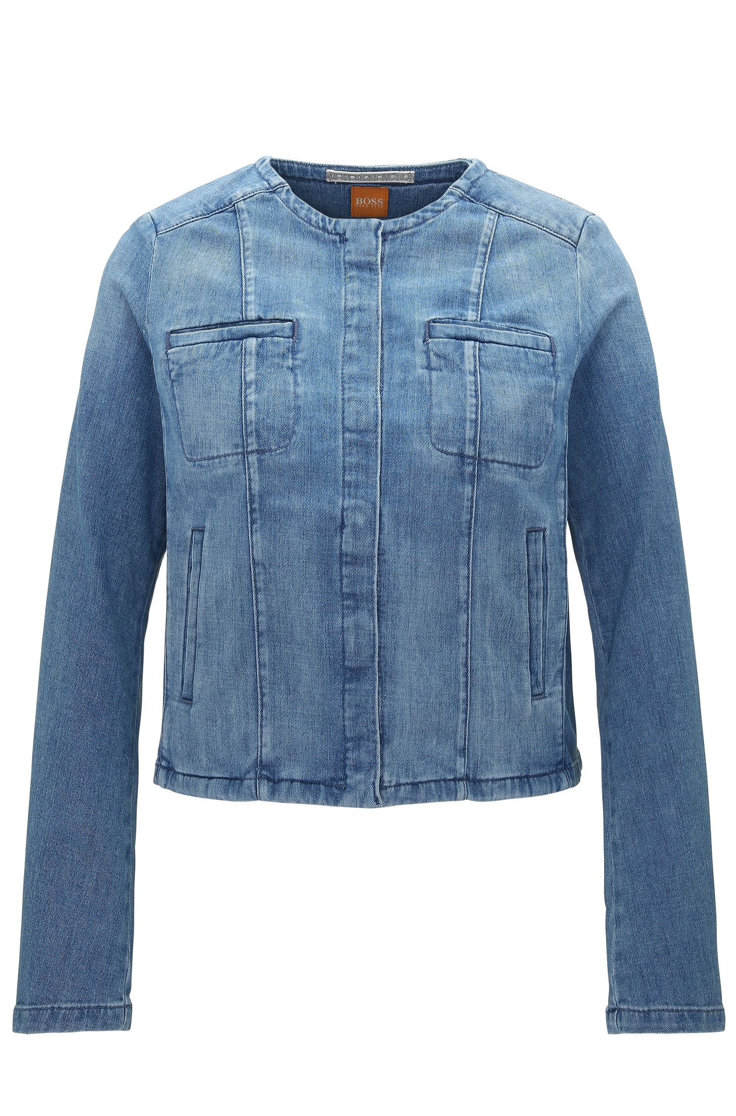 Regular-fit jacket in stone-washed denim