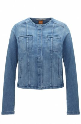 Regular-fit jas van stonewashed denim, Blauw