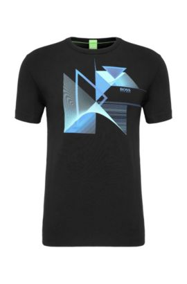 Regular-Fit T-Shirt mit Print aus Single Jersey, Schwarz
