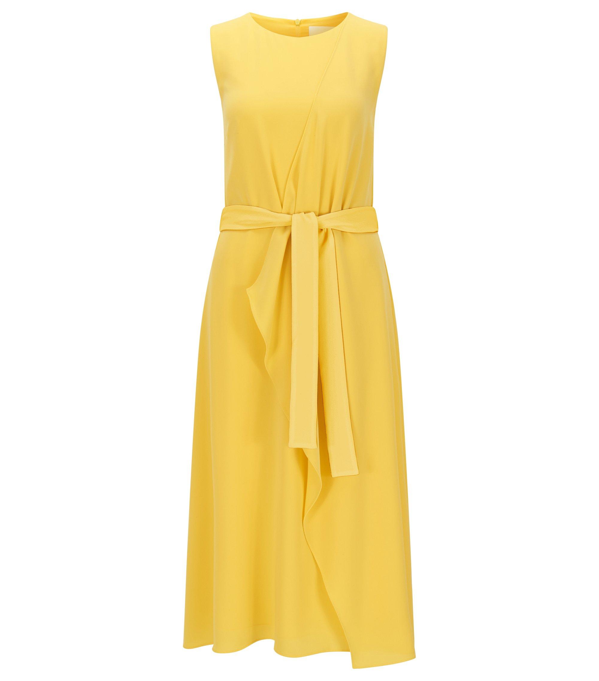 Gelaagde relaxed-fit jurk van middelzwaar materiaal, Geel