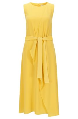 Relaxed-fit layered dress in mid-weight fabric, Yellow