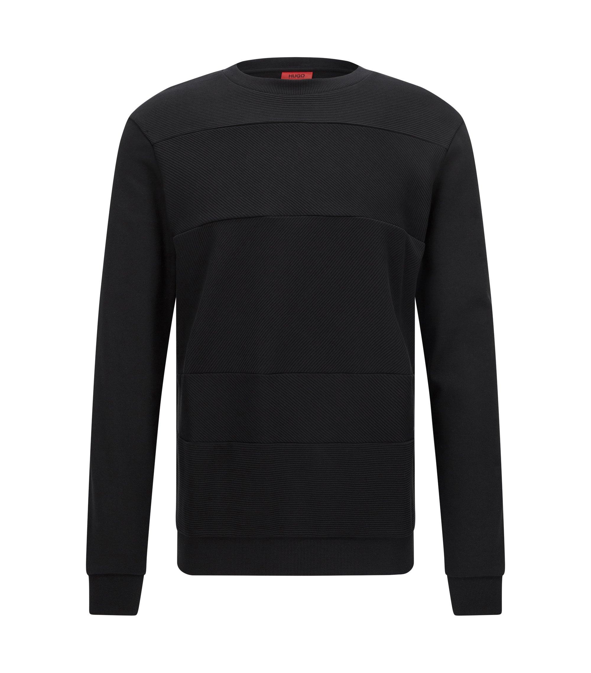 Relaxed-Fit Sweatshirt aus Baumwolle mit Struktur-Mix, Schwarz