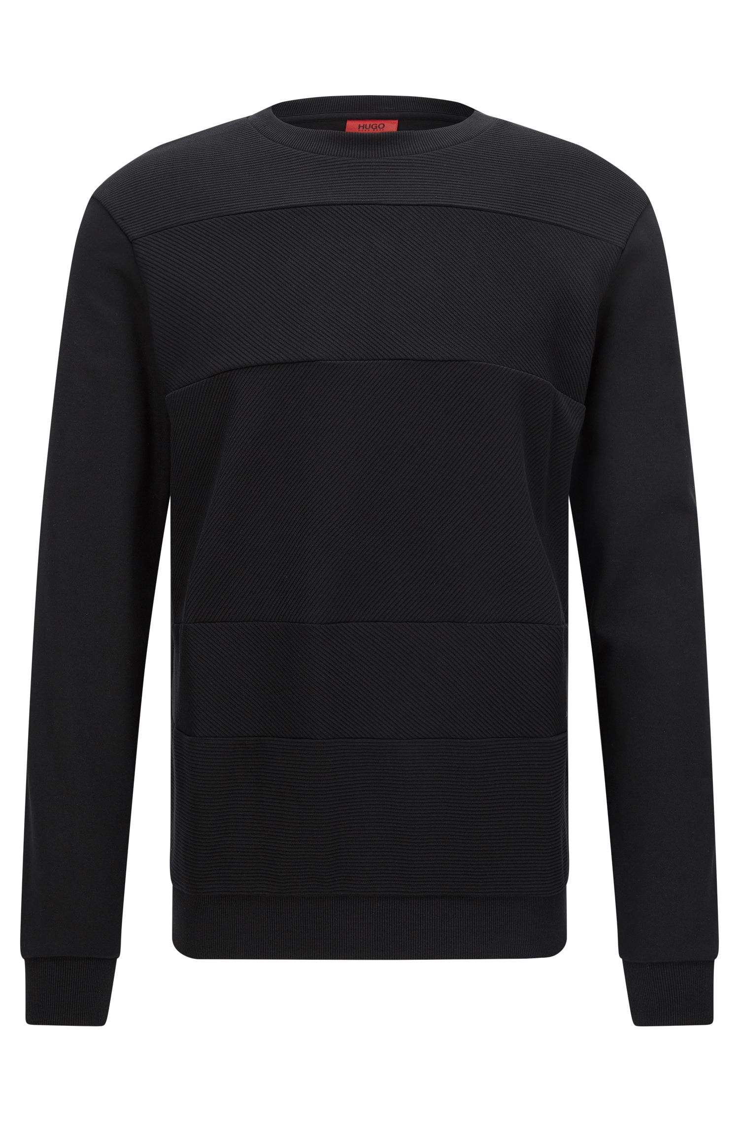 Relaxed-Fit Sweatshirt aus Baumwolle mit Struktur-Mix
