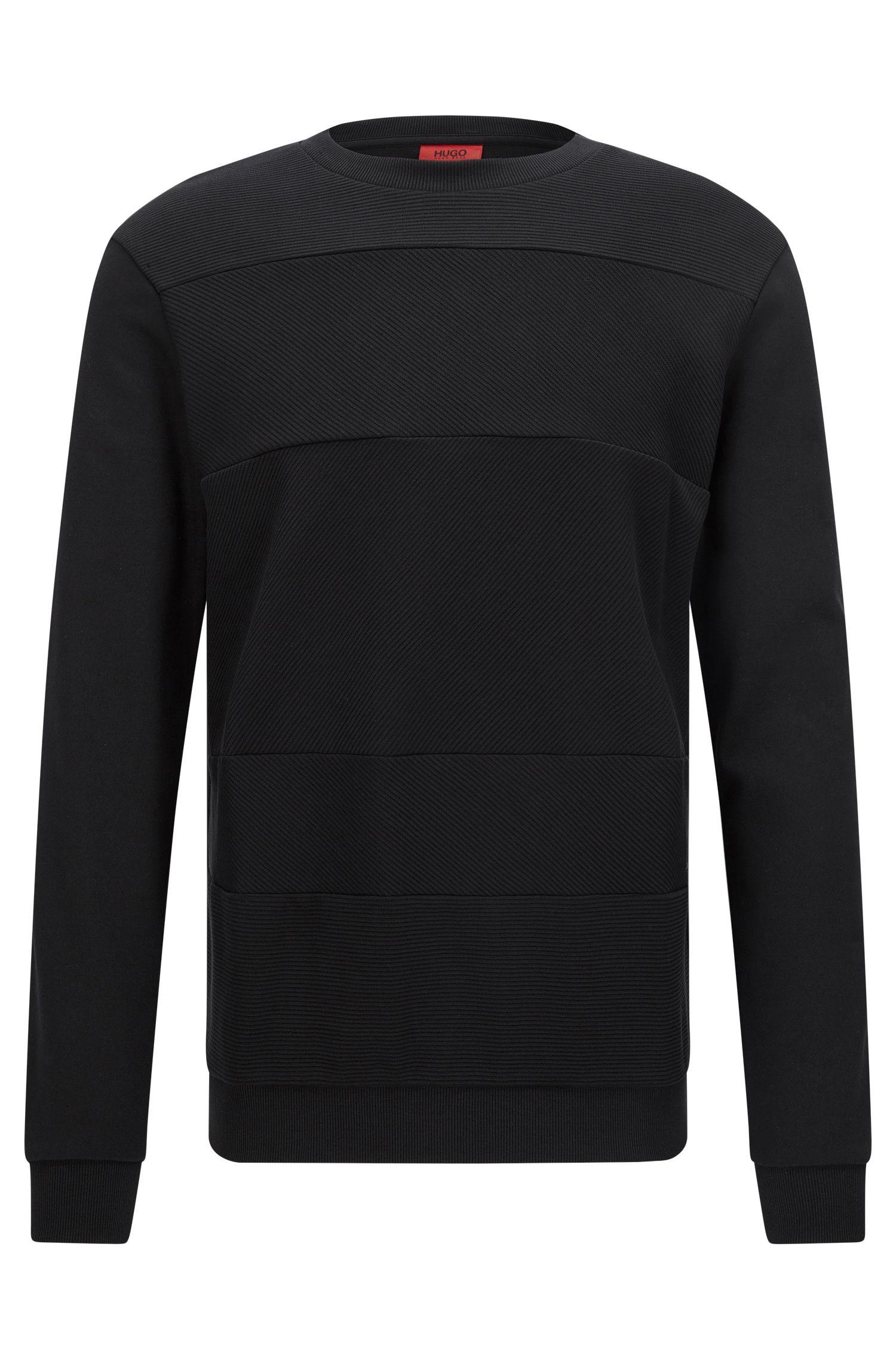 Relaxed-Fit Sweatshirt aus Baumwolle mit Struktur-Mix
