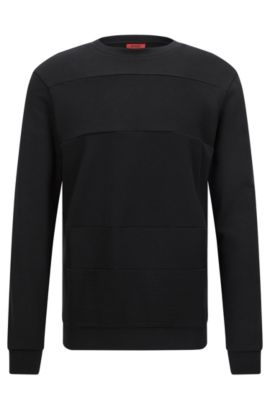 Relaxed-fit sweatshirt with mixed textures, Black