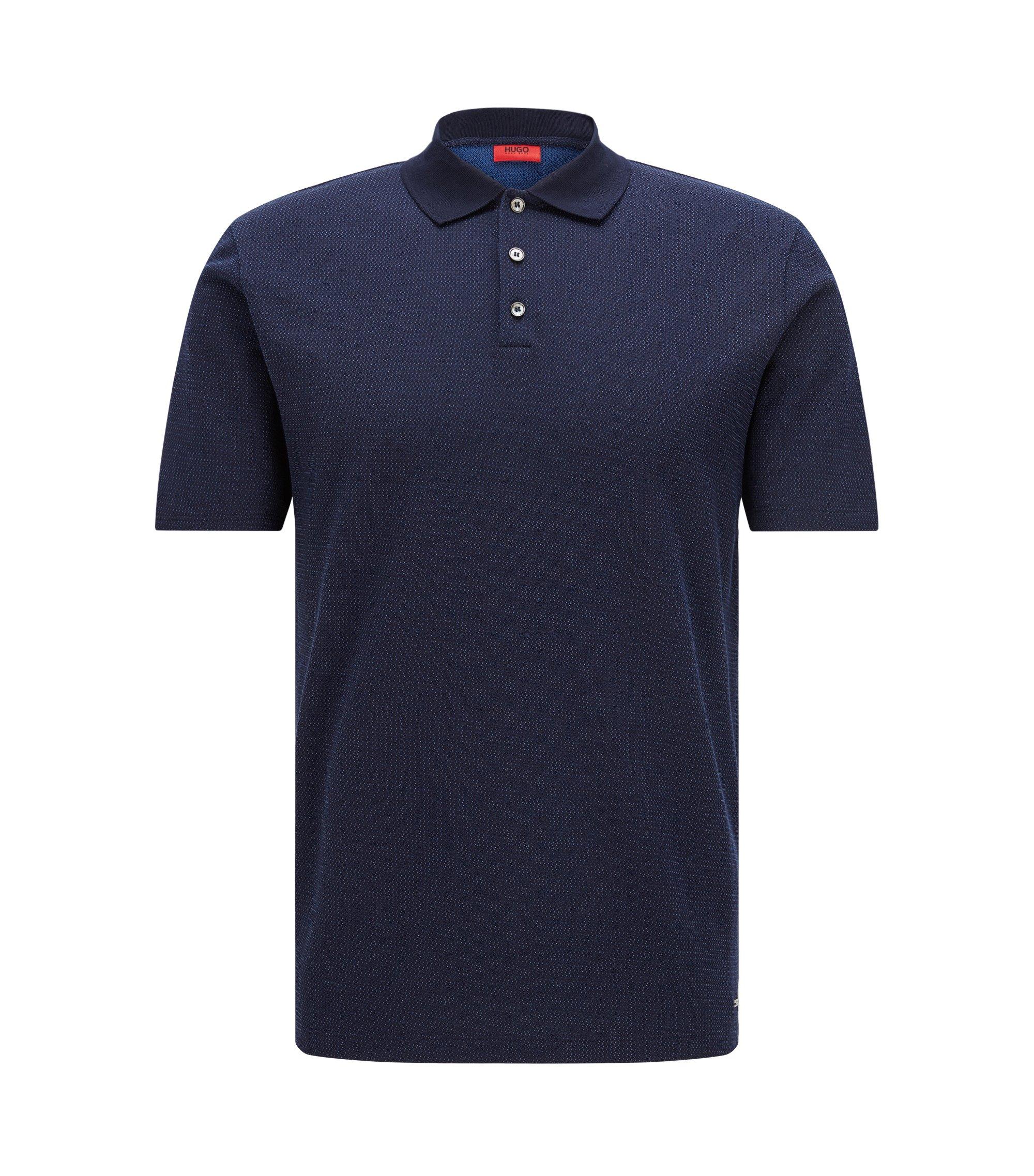 Polo regular fit in cotone jacquard, Blu scuro
