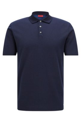 Regular-fit polo shirt in jacquard cotton, Dark Blue