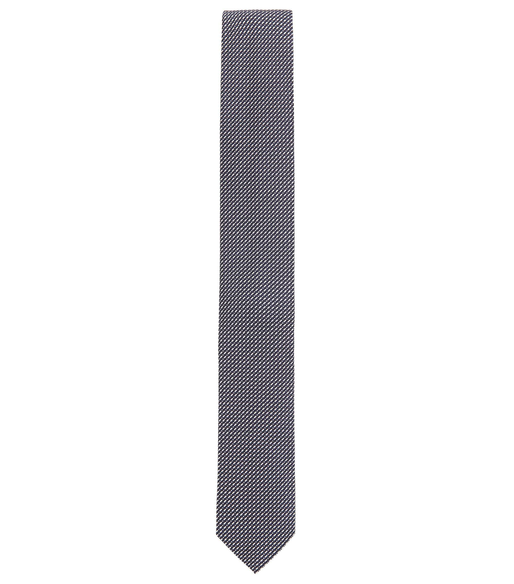 Cravate jacquard en fine soie à motif, Bleu foncé